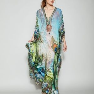 NWT Peacock Silk Kaftan/Dress